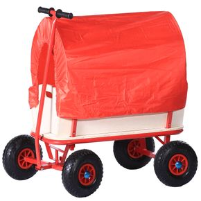Jalano Stabiler Handwagen Bollerwagen Plane Holz Transportwagen Wagen Rot Dach