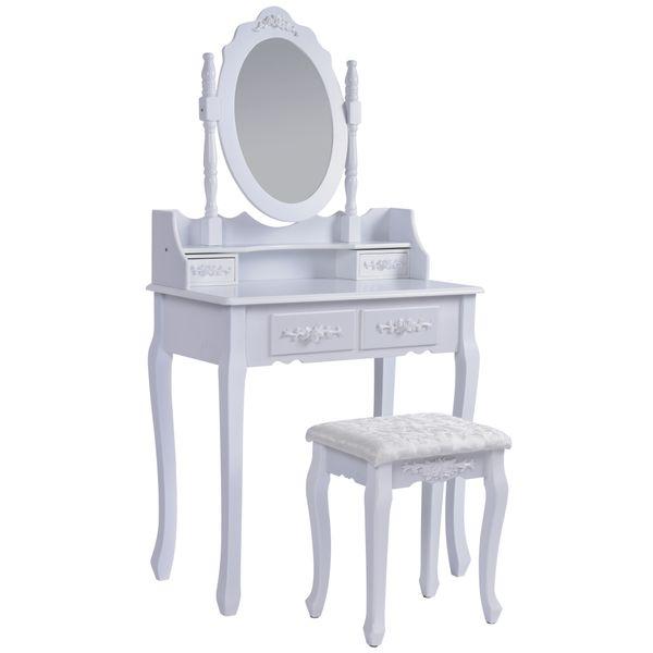 Jalano Schminktisch Verona weiß Frisiertisch Set Schminkkommode mit Spiegel schwenkbar inkl Hocker - Defekt