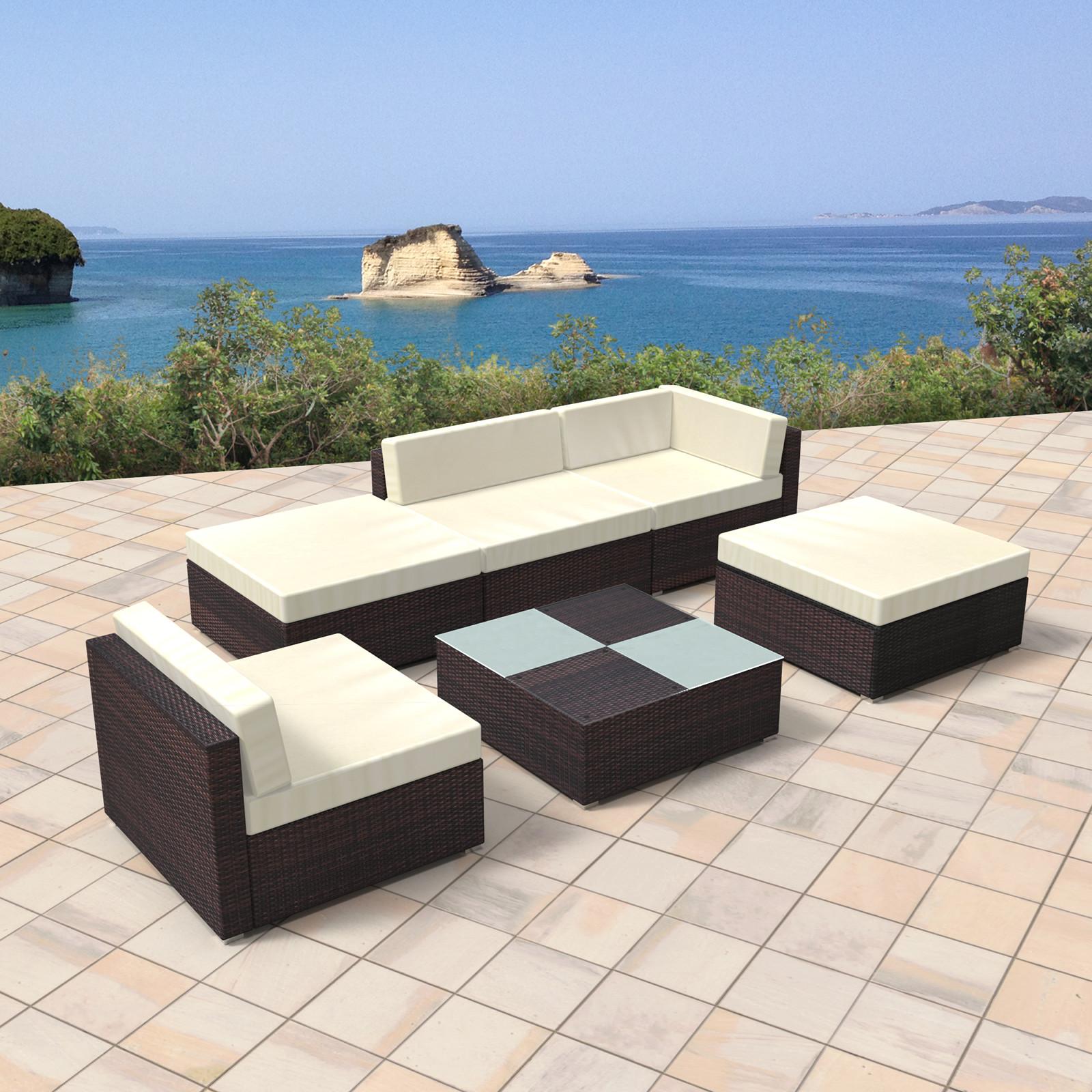 Paket Rattan Gartenmobel Lounge Set Gemutliche 6 Teilige Sitzgruppe Fur Balkon Polyrattan Gartengarnitur Inkl Tisch Und Hocker B Ware