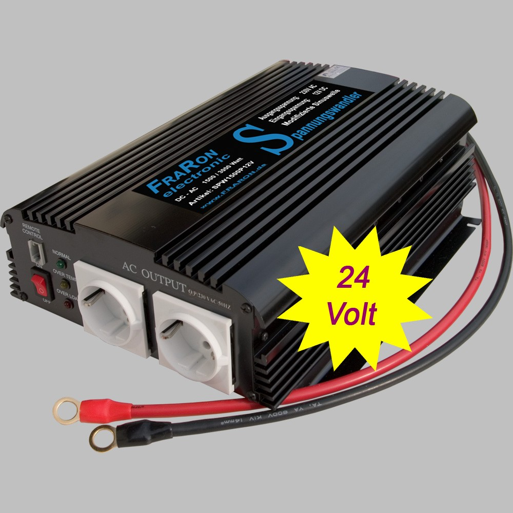 Power inverter modified sine wave 1500 Watt 24V Power Inverter ...