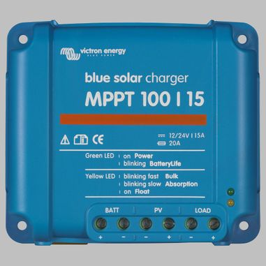 MPPT Solar charge controller 15A for 12V / 24V Battery Systems, max. PV voltage 100V