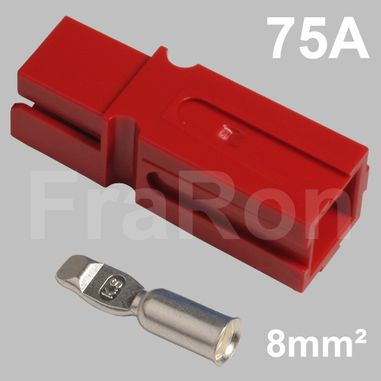 75 Amp single pole housing, red, Set incl. terminal for AWG8 / 8mm²