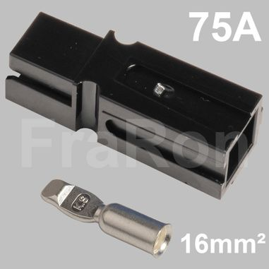 75 Amp single pole housing, black, Set incl. terminal for AWG6 / 16mm²