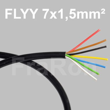 Automotive wire, multi-core, 7x1,5mm² (yellow/blue/white/green/brown/red/black), FLYY