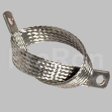 Grounding strap 50mm², AWG1/0, Length 400mm, side holes 10,5mm