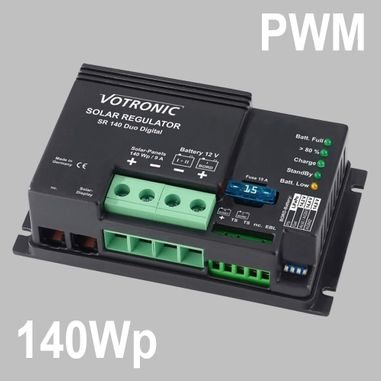 PWM Solar charge controller 9A for 12V Battery Systems, max. PV voltage 28V, Duo Digital