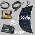 100W semi-flexible solar kit 12V, PWM charge controller, Sun-Power cells, Stick down, for caravans, boats, motorhomes