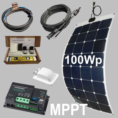 100W semi-flexible solar kit 12V, MPPT charge controller, Sun-Power cells, Stick down, for caravans, boats, motorhomes