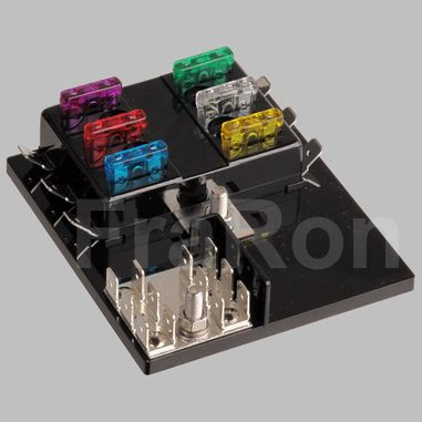 6pos. ATY-N Panel Fuse Block with cover, max. 150A, with grounding pad