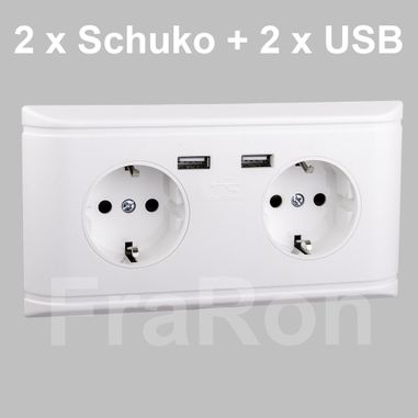 Double wall socket 230V Schuko + 2 x USB, 2,1A, white