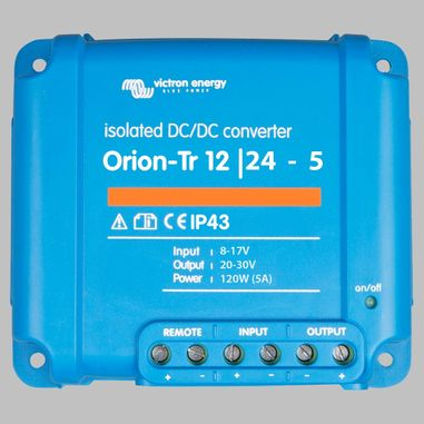 DC-DC converter 12V to 24V, 5 Ampere, galvanic isolation, as Battery charger useable, ORION-TR