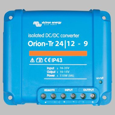 DC-DC converter 24V to 12V, 9 Ampere, galvanic isolation, as Battery charger useable, ORION-TR