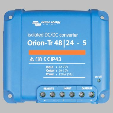 DC-DC converter 48V to 24V, 5 Ampere, galvanic isolation, as Battery charger useable, ORION-TR