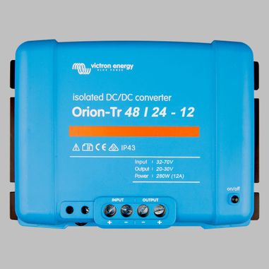 DC-DC converter 48V to 24V, 12 Ampere, galvanic isolation, as Battery charger useable, ORION-TR