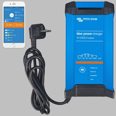IUoU Automatic Battery Charger 12V / 30A, 3 outputs, Blue Power GX IP22 Smart Bluetooth