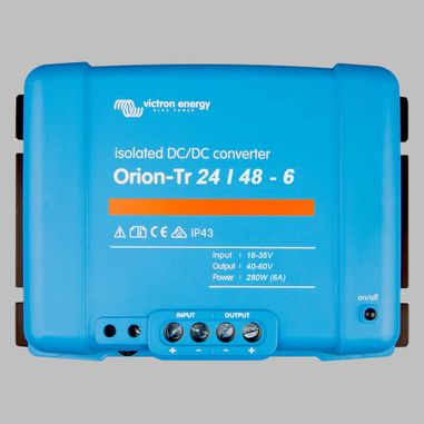 DC-DC converter 24V to 48V, 6 Ampere, galvanic isolation, as Battery charger useable, ORION-TR