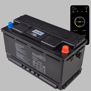 100AH Lithium Battery 12V / 1,28KWh LiFePo4 with internal Battery Management System