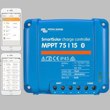 MPPT Solarladeregler 15A für 12V / 24V Batterien, max. Eingang 75V DC, Smart mit Bluetooth