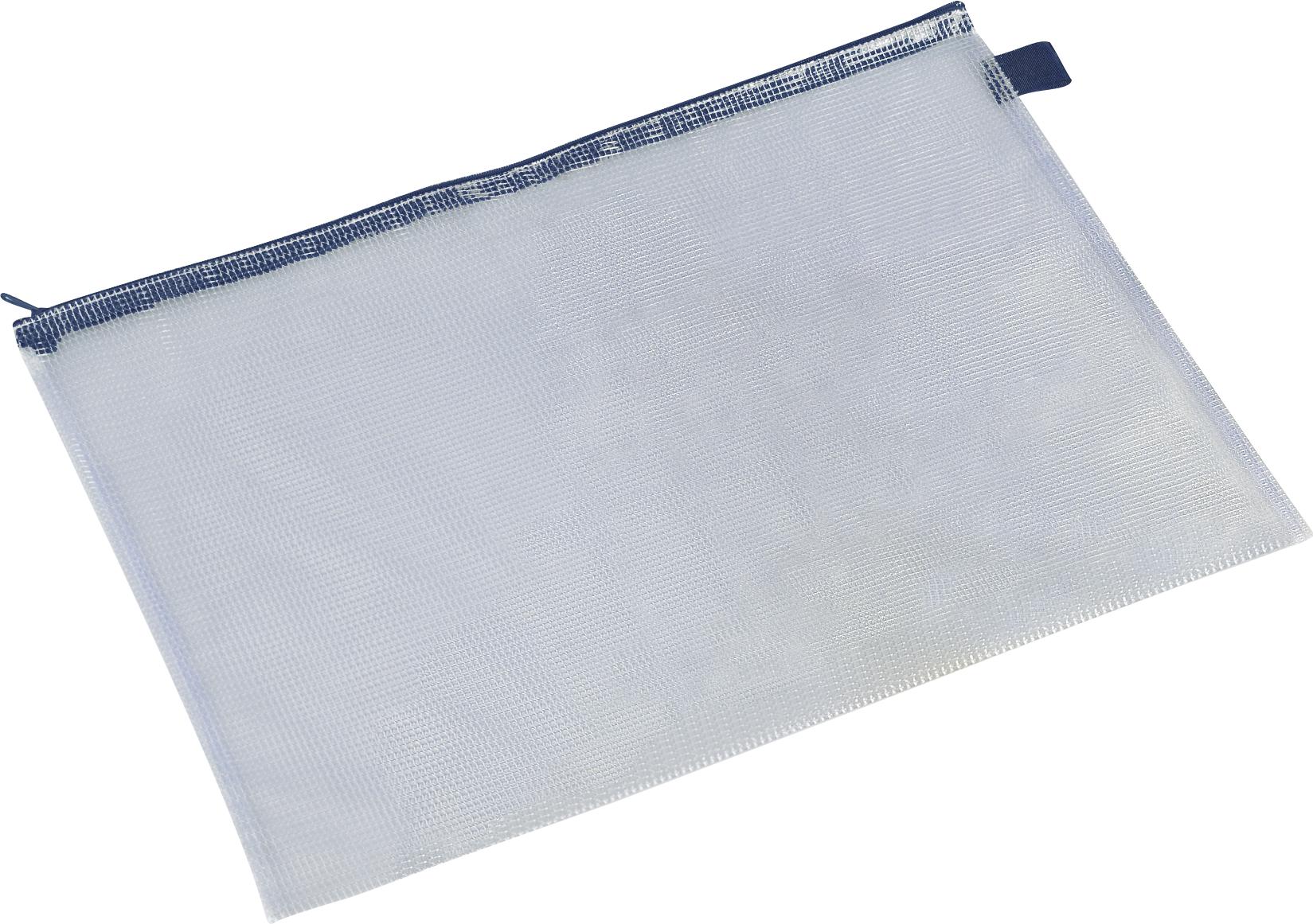 Blau/transparente Schönherr Reißverschlusstasche DIN A3 aus gewebeverstärkter PVC-Folie