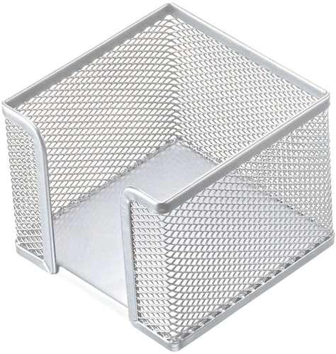 Zettelbox 'Mesh' silberfarbig, für Notizwürfel, aus Stahl-Gitter