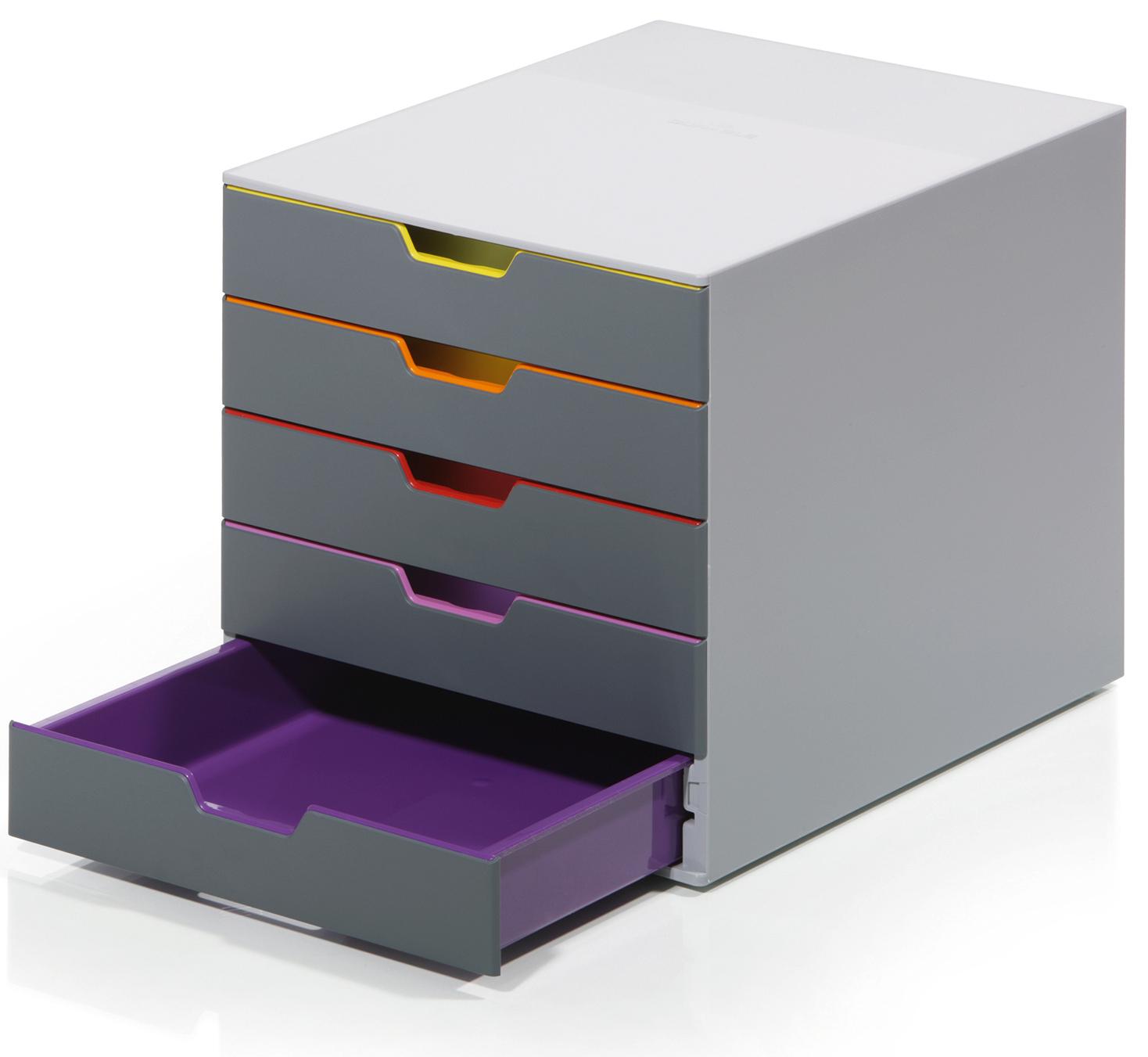 Durable Schubladenbox Varicolor (5er) in Grau für Format DIN A4/C4