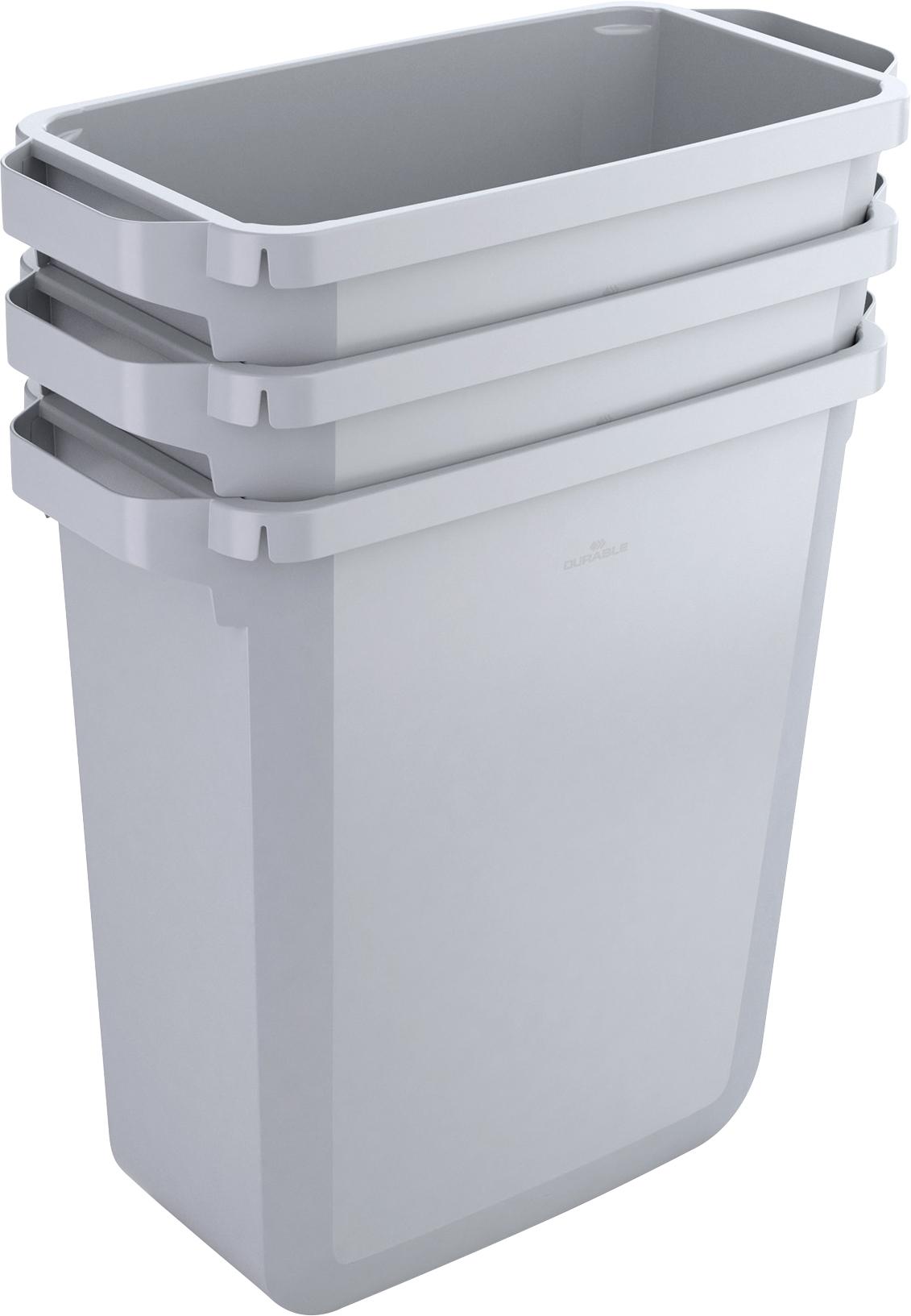 Durabin Abfallbehälter mit 60 l Fassungsvermögen, Bsp. mit Möglichkeit des Stapels