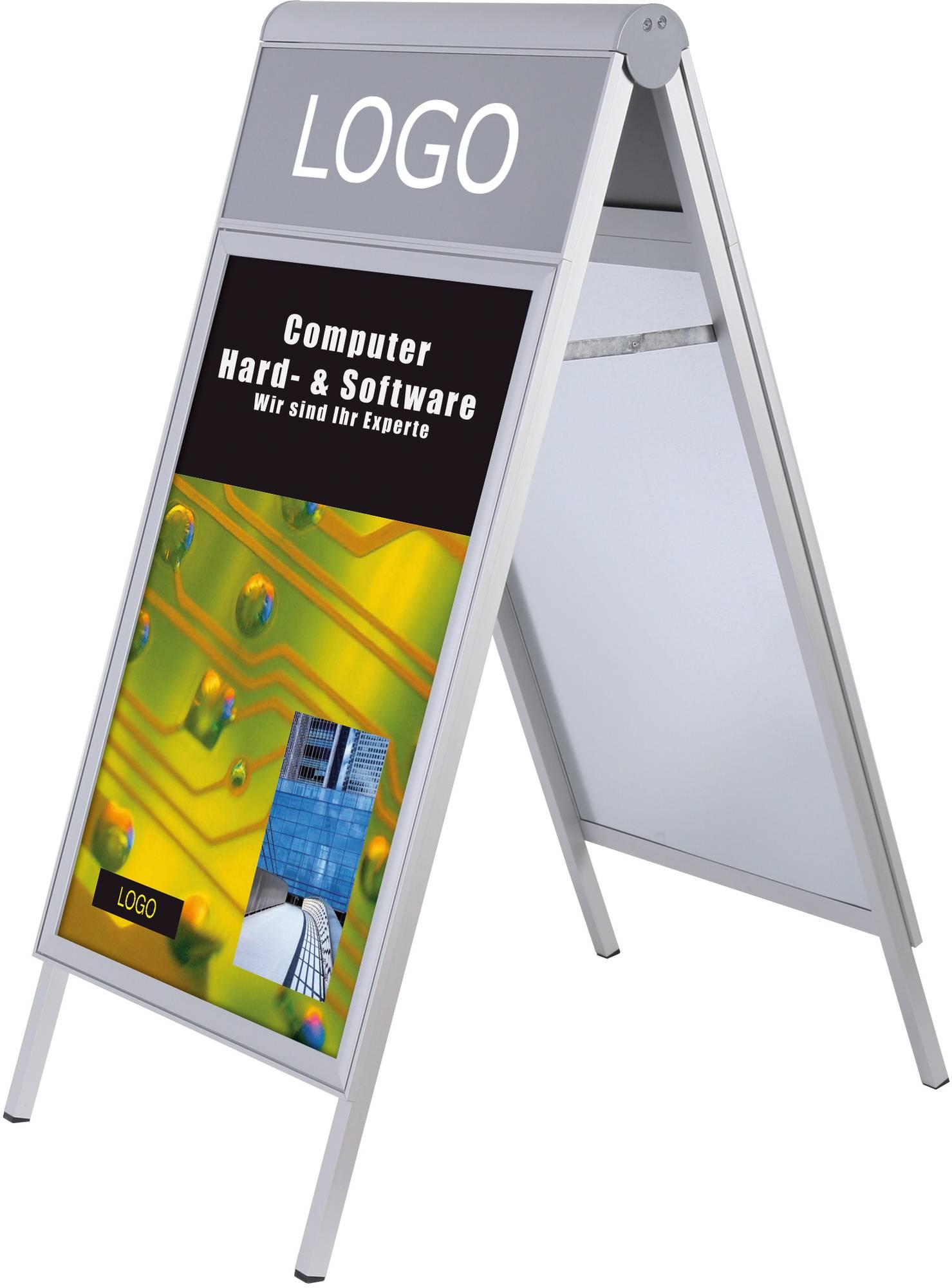 Kundenstopper 'Compasso' mit Platz für Logo oder Schriftzug für Plakte in A1 Format in alu-silber