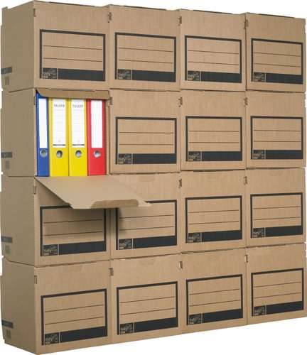 Stapelbare Archivkartons für Ordner in Braun