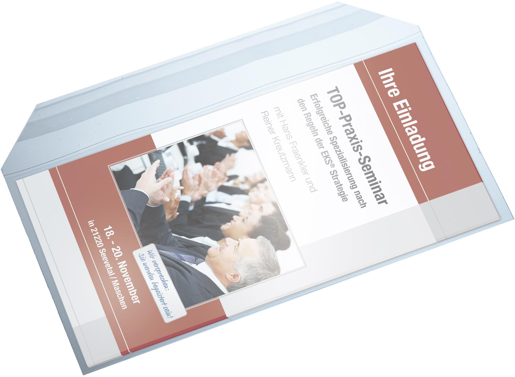 Anwendungsbeispiel 1 transparente Versandtasche für DIN lang