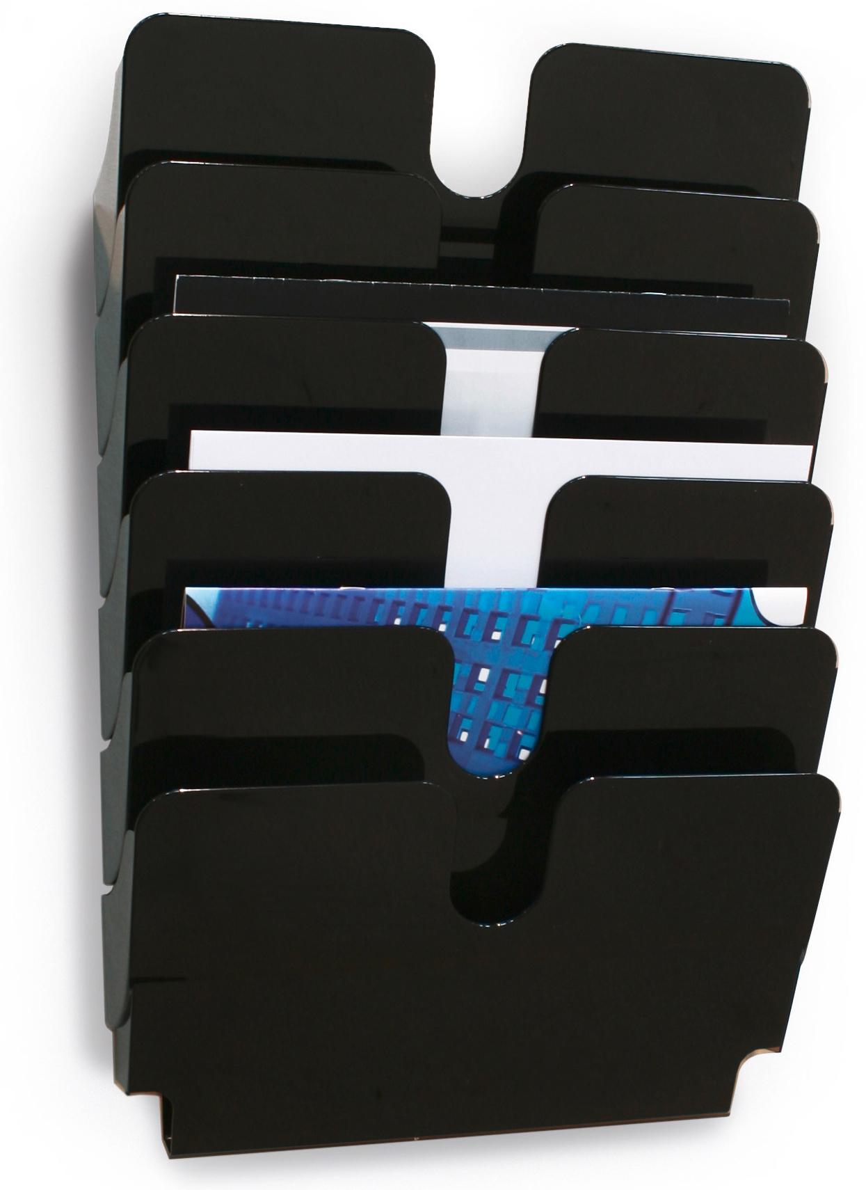 Wand-Prospekthalter für 6 x A4 Prospekte im Querformat in schwarz