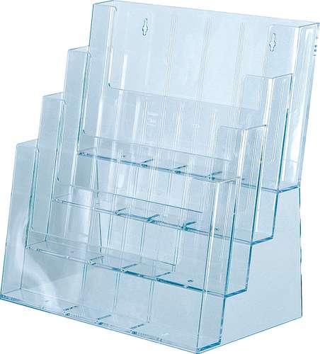 Tischaufsteller für 4 x A4 quer, mit Fachteilern für DIN lang