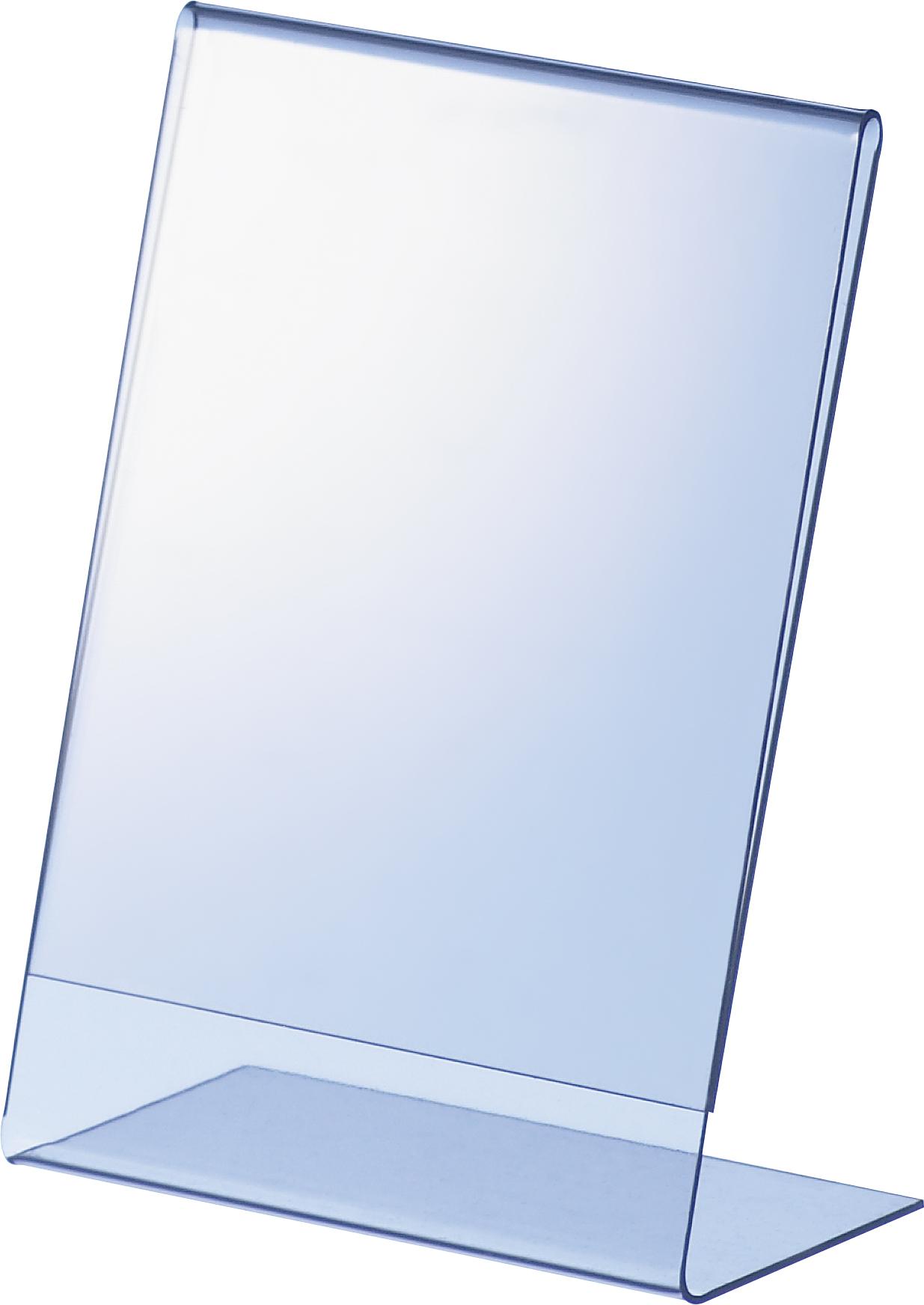 Klarer L-Aufsteller aus PVC für A7 mit seitlichem Einschub, Einzelblatt-Tischaufsteller