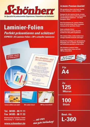 Express-Laminierfolie in A4, 125 mic