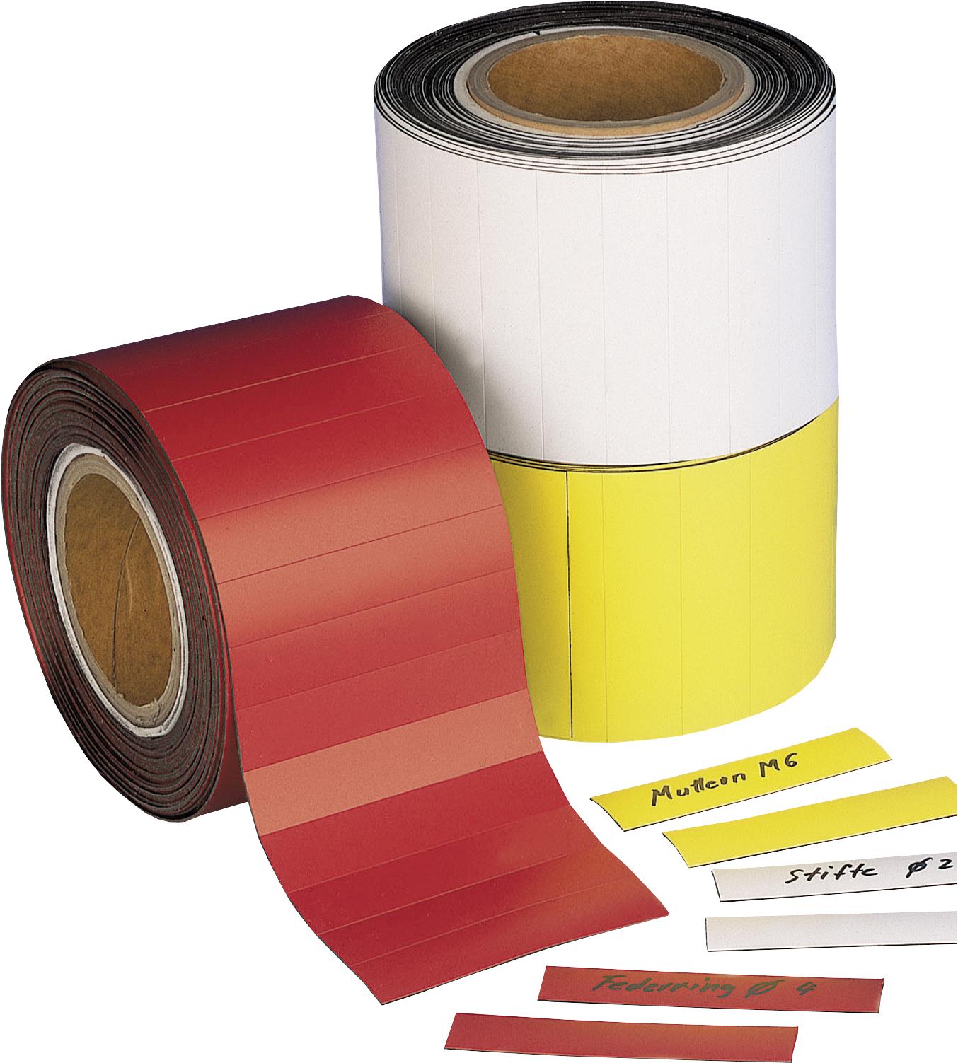 Magnetschilder, 100 x 50 mm, 10 m Rolle, 200 Stück - rot, weiß und gelb sind enthalten