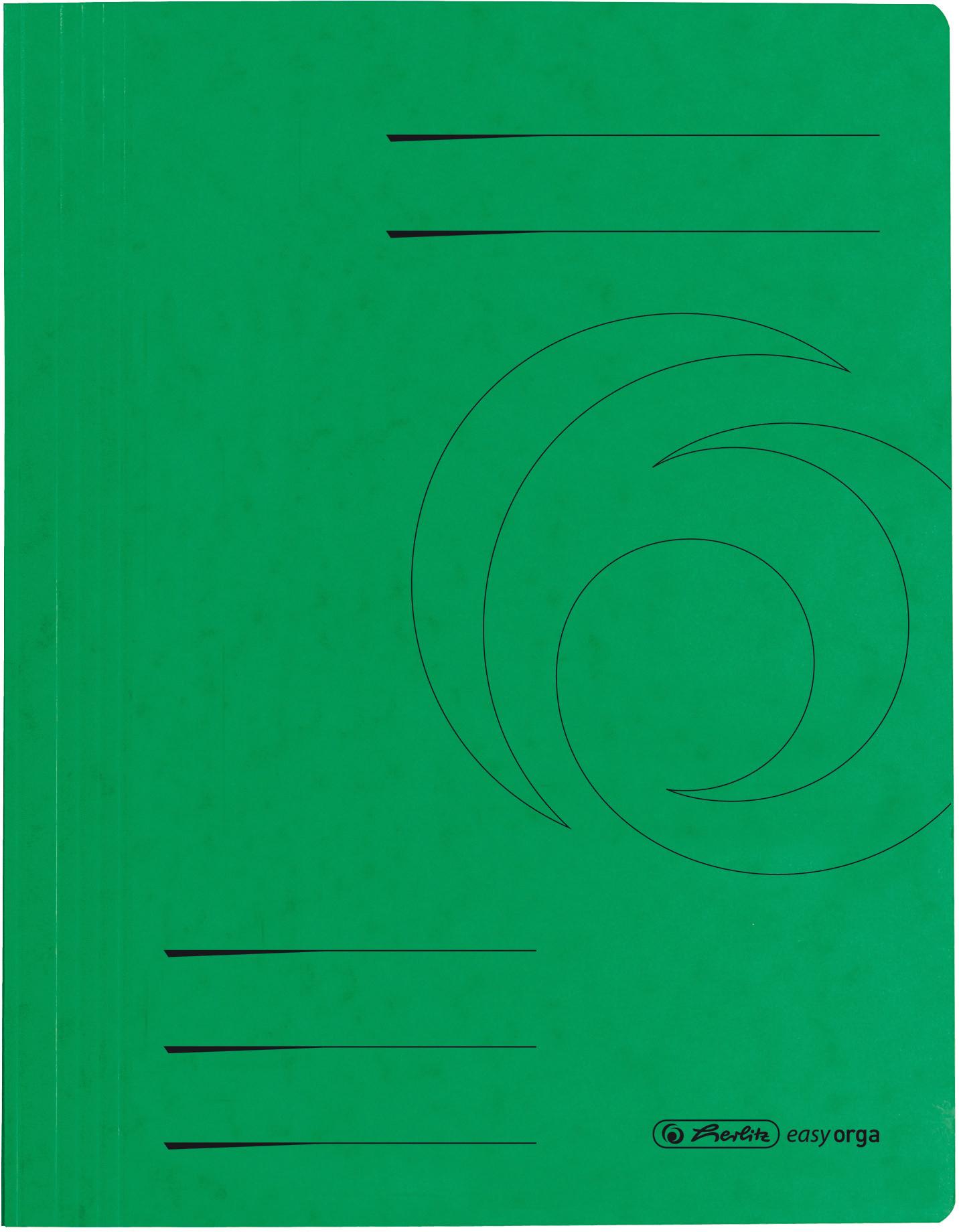 Grüner Schnellhefter aus Karton für DIN A4, mit Linienvordruck auf Vorder- und Rückseite, 355 g/m²