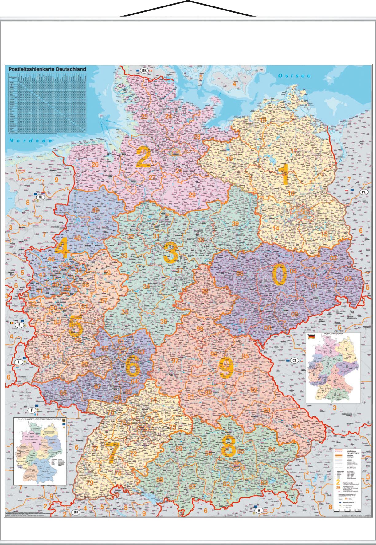 Karte Plz.Plz Kartentafel Deutschland Laminiert Beschreibbar