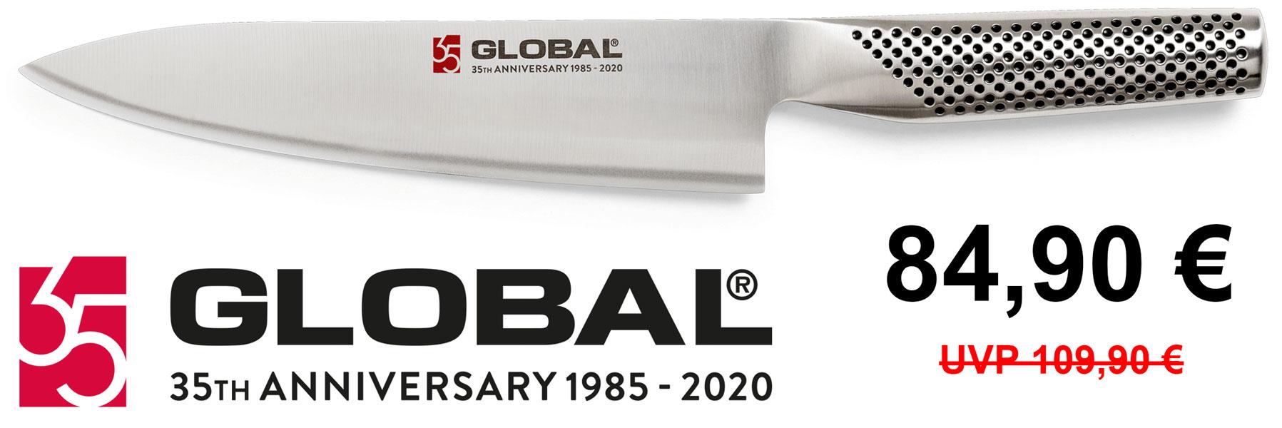 Global G-100/AN Kochmesser 19 cm 35 Jahre Jubiläum