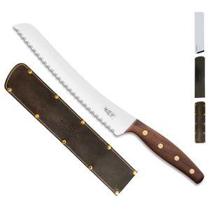 Herder K-Serie Brotmesser BEIDHÄNDER K-B2 Walnuss + SCHARFsinnig Klingenschutz – Bild 5