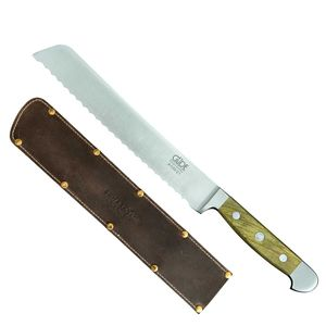 Güde Brotmesser 21 cm Säge Alpha Olive X430/21 + SCHARFsinnig Shabby Chic Leder Klingenschutz – Bild 1