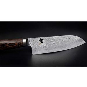 Kai Brotmesser 23 cm Shun Premier TDM-1705 + SCHARFsinnig Shabby Chic Leder Klingenschutzf – Bild 5