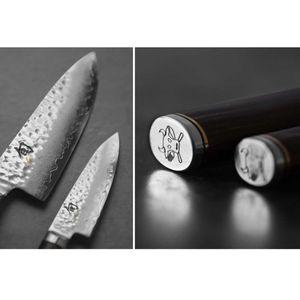 Kai Kochmesser 20 cm Shun Premier TDM-1706 plus 2 x SCHARFsinnig Pizza- und Steakmesser ultra-sägescharf – Bild 3
