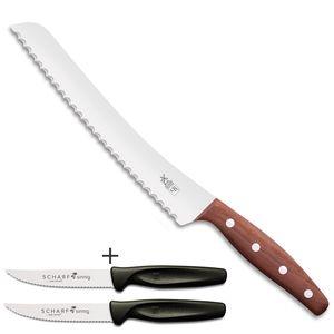 Herder K-Serie Brotmesser BEIDHÄNDER K-B2 Pflaume plus 2 x SCHARFsinnig Pizza- und Steakmesser ultra-sägescharf
