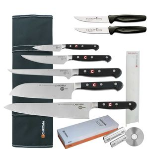 Chroma Azubi Messer Set TOP PRICE Japanchef Start-01N plus 2 x SCHARFsinnig Pizza- und Steakmesser ultra-sägescharf – Bild 1