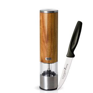 AdHoc Pfeffermühle - Salzmühle WOODMATIC elektrisch plus SCHARFsinnig Pizza- und Steakmesser ultra-sägescharf – Bild 1