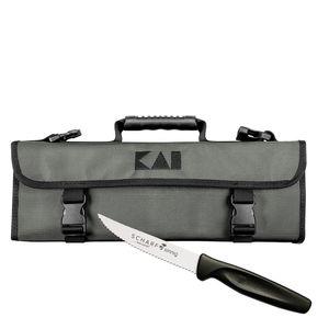 Kai Messertasche für 5 Messer Shun DM-0781 New Design plus SCHARFsinnig Pizza- und Steakmesser ultra-sägescharf – Bild 1