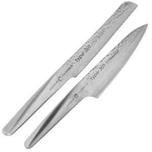 Chroma Messerblock Set 8-tlg Type 301 hammered C-Mas15 plus je 2 x SCHARFsinnig Messer Brotzeit & Steak – Bild 2