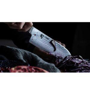 Kai Gemüsemesser 9 cm Shun Damastmesser DM-0714 plus SCHARFsinnig Pizza- und Steakmesser – Bild 4