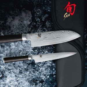 Kai Messer Set 3-teilig Shun Damastmesser DMS-310 plus je 2 x SCHARFsinnig Messer B & S – Bild 2