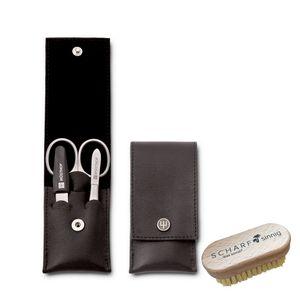 Dreizack Nagelpflegeetui schwarz 9122-3tlg Edelstahl + SCHARFsinnig Multi Nagelbürste – Bild 1