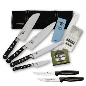 Chroma Azubi Messer Set TOP PRICE Japanchef Start-01new plus 2 x SCHARFsinnig Pizza- und Steakmesser – Bild 1